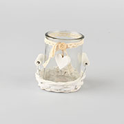 a. Glass candleholder in willow base 0/48